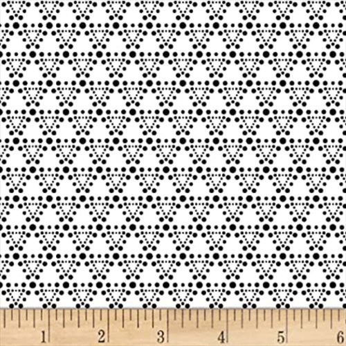 Stof Fabrics 4512-456 Dot Mania Triangle Dots Black Cotton Fabric By The Yard