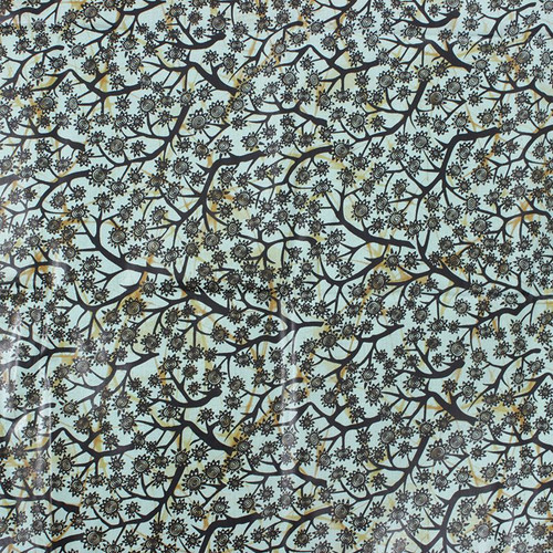 African Print Sunflower Tree Mint Traditional Wax Print Cotton Fabric By The Yard