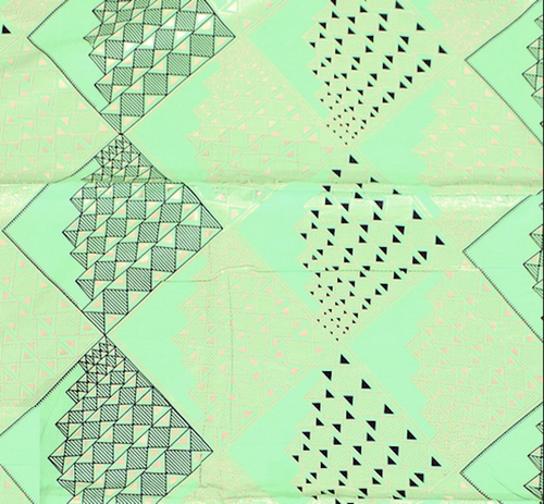 African Print Metallic Gold Diamonds Lime Cotton Fabric By The Yard