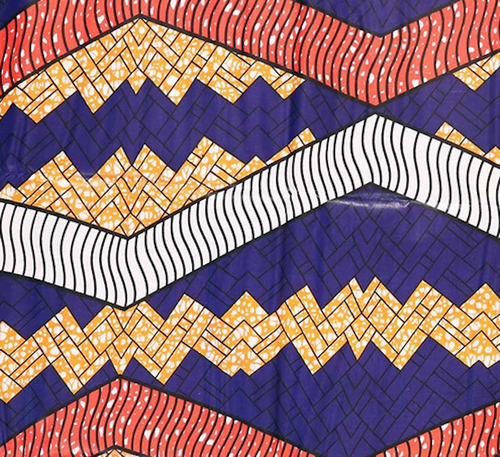 African Print Zig Zag Purple, Red & Orange Traditional Wax Print Cotton Fabric By The Yard