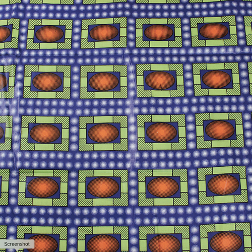 African Print Cosmic Rectangles Blue Traditional Wax Print Cotton Fabric By The Yard