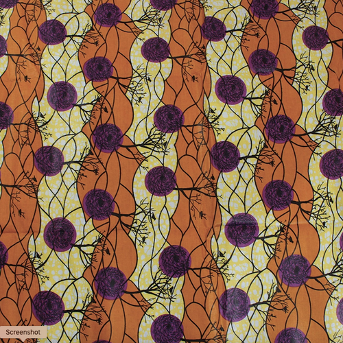 African Print Autumn Tree Brown & Orange Traditional Wax Print Cotton Fabric By The Yard