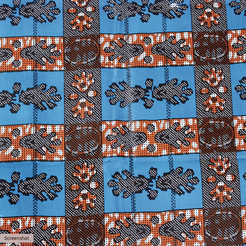 African Print Paw Print Blue Traditional Wax Print Cotton Fabric By The Yard