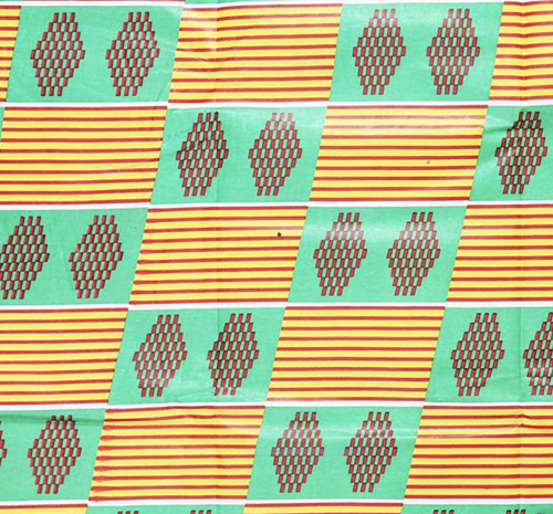 African Wax Print Kente Style Print Green & Yellow Cotton Fabric By The Yard