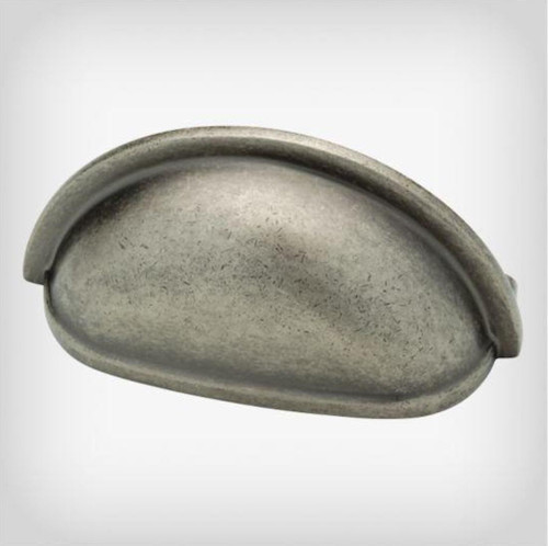 """Avante P39613-PI 3"""" Plain Cup Cabinet Drawer Pull Tumbled Pewter Finish"""