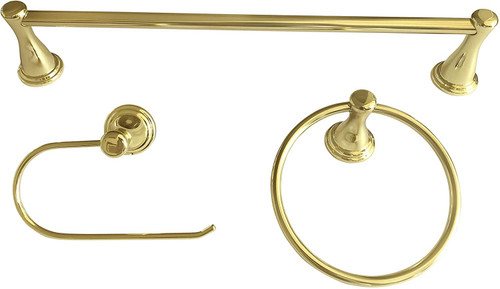 Peerless Bayside 3 Piece Bath Accessory Hardware Set Polished Brass Finish