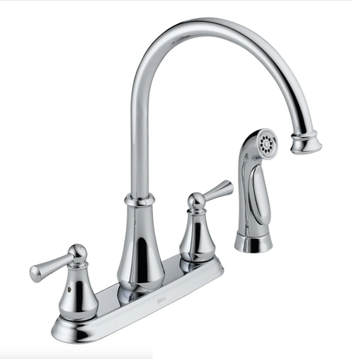 Delta 21902LF Lewiston High Arc 2 Handle Chrome Kitchen Faucet