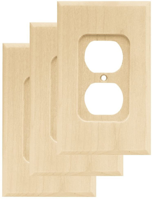 Franklin Brass W10397-UN Unfinished Wood Single Duplex Wall Plate Cover 3 pack