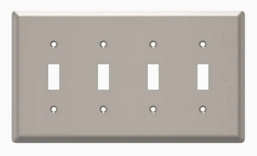 Style Selections W45074-SN Satin Nickel Simple Square Quad Switch Wall Plate Cover