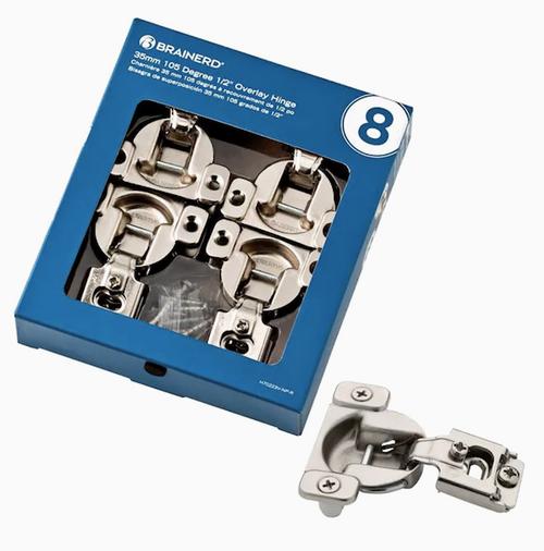 "Brainerd H70223V-NP 8-Pack 1/2"" Nickel Plated Concealed Cabinet Hinge"