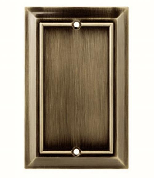 Brainerd Architectural Decorative Single Blank Switch Plate Antique Brass