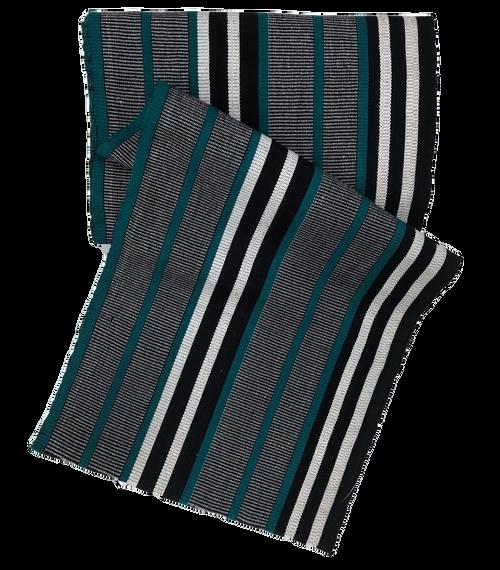 "African Faso Dan Fani Handmade Woven Teal Stripe Cotton Fabric 12"" x 7 Yard"