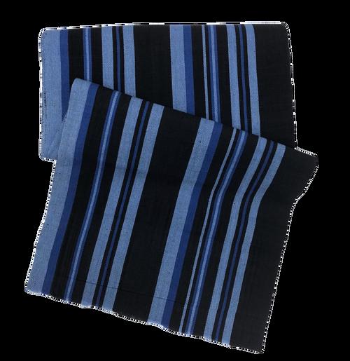 "African Faso Dan Fani Handmade Woven Night Stripe Cotton Fabric 12"" x 5 1/2 Yard"
