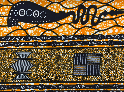 African Traditional Wax Print 27056 Orange Cotton Fabric By The Yard