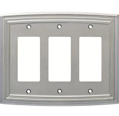 Hampton Bay W36405-SNE Classical Emery Triple GFCI Satin Nickel Cover Plate