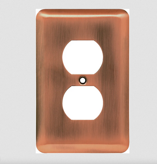 Liberty W10249-AC Antique Copper Stamped Single Duplex Wall Plate Cover