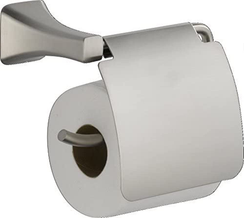 Delta 752500-SS Tesla Bath Toilet Paper Holder w/ Cover Stainless Steel Finish