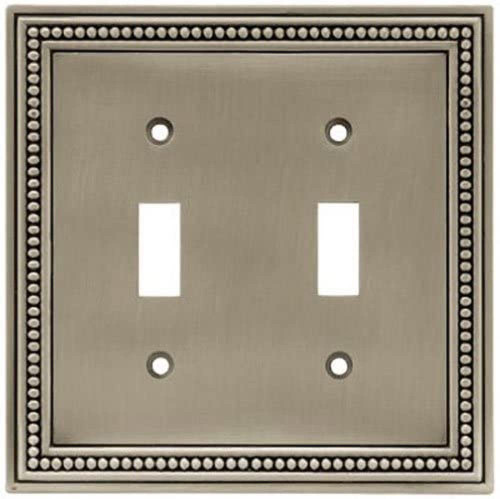 Liberty W10102-BSP Beaded Brushed Satin Pewter Double Switch Wall Plate Cover