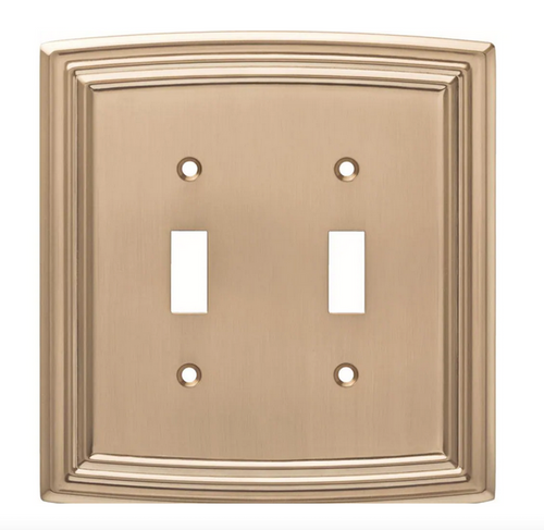 Liberty W36399-CZ Classical Emery Double Switch Champagne Bronze Cover Plate