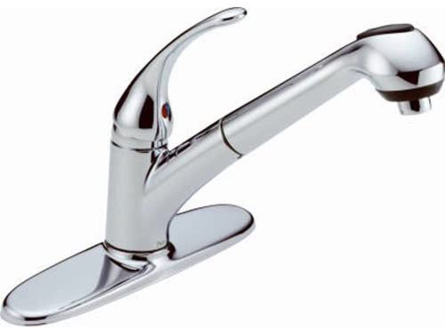 Delta Foundations B4310LF Chrome 1-Handle Pull Out Sprayer Kitchen Faucet