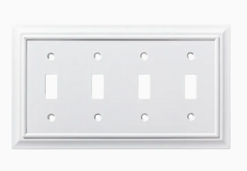 Brainerd W10765-PW Architect Pure White Quad Switch Wall Plate Cover