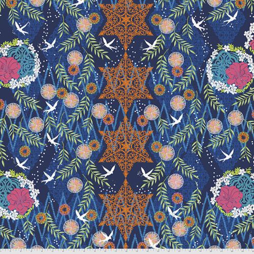 Free Spirit Valori Wells Enchanted Bird Indigo Cotton Fabric By The Yard