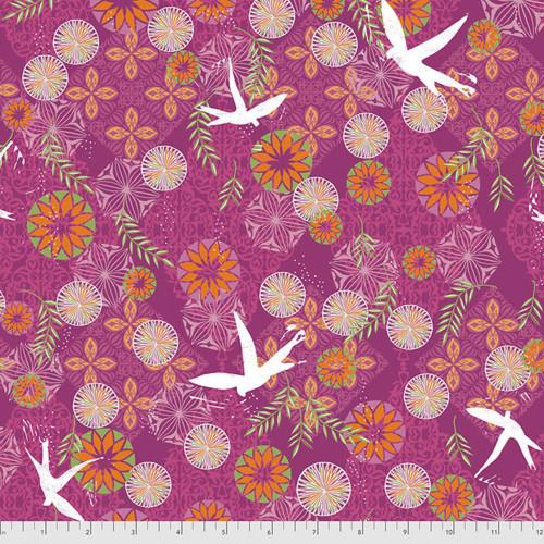 Free Spirit Valori Wells Enchanted Birds Pomegranate Cotton Fabric By The Yard