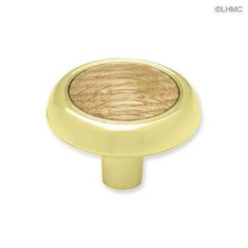 "P50080C-PB0-C  Brass & Oak Wood 1 1/4""  Cabinet Drawer Pull"