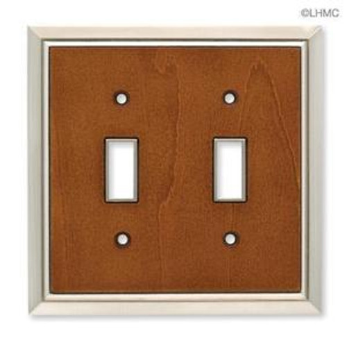 126456 Satin Nickel & Caramel Architect Double Switch Cover Plate