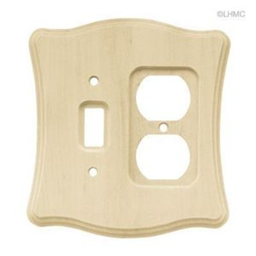 64643 Scallop Unfinished Wood Single Switch/Duplex Wall Plate