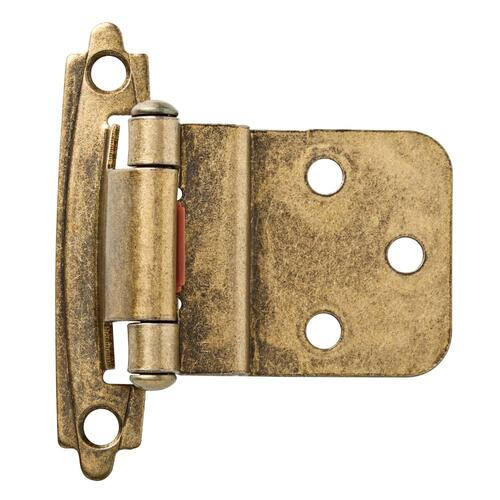 "119150 Self Closing 3/8"" Inset Hinge Antique Brass Set of 2"