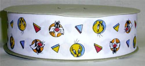 "Looney Tunes Sylvester & Tweety Fabric Grosgrain Ribbon 50 Yds 1 1/2"" Wide"