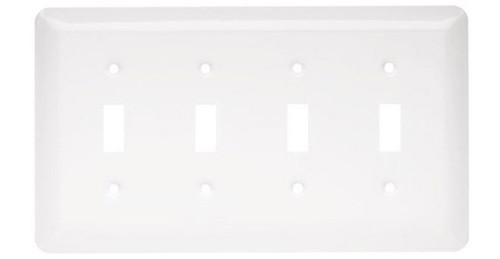 126432 White Stamped Metal Quad Switch Plate Cover