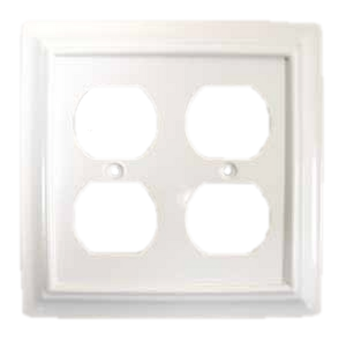 White Architect Double Duplex Outlet Cover Wall Plate