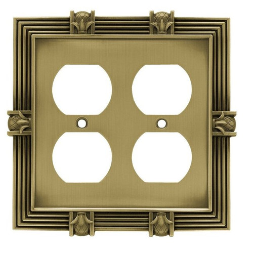 Liberty Satin Antique Bronze Pineapple Double Duplex Outlet Cover Plate