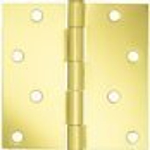 "B1410 4"" Square Corner Door Hinge Satin Brass"