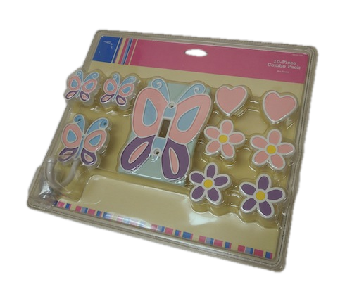 085-03-1456 10 Piece Butterfly Combo Pack Cover Plate, Hook & 8 Knobs