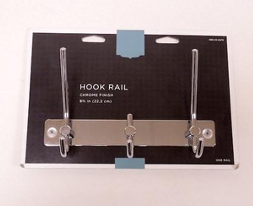"085-03-0075  8 3/4"" 3 Hook Coat/Hat Rail Chrome"