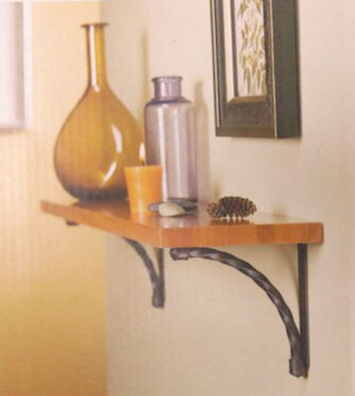 "085-03-3308 24"" Shelf w/ Metal Brackets Dk Caramel w/ Dark Gun Metal"