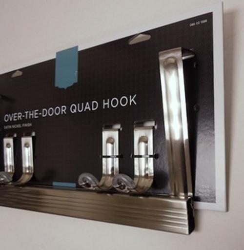 085-03-1588 Over The Door Adjustable Hook Coat Hat Hook Rail Satin Nickel