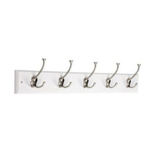 "129848  27"" 5 Flare Hook Coat/Hat Rail Vintage White w/Satin Nickel Hooks"