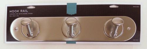 "085-03-0355 18"" 3 Hook Coat/Hat Rail  Satin Nickel & Chrome"