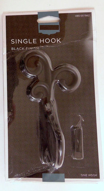 085-03-1562 Flat Black Curlique Single Prong Coat and Hat Hook