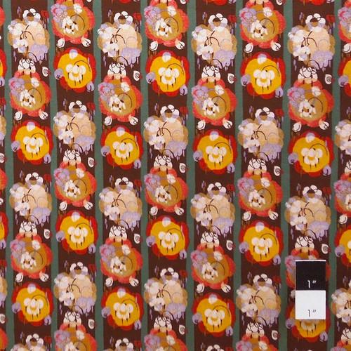 Victoria and Albert PWVA007 Benedictus Flower Stripe Tan Fabric By Yard
