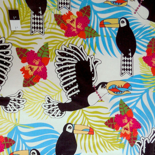 Luella Doss OCLD01 Jungle Fever Lonely Toucan Ivory LAMINATE Fabric By Yd