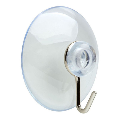 138721 Medium Suction Cup Hook Chrome Coat and Hat Hook Pack of 8