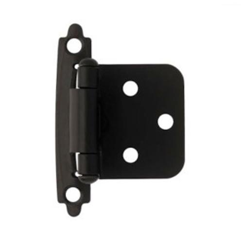 H0103AZ-FB Flat Black Self Closing Overlay HInge 2 Pack