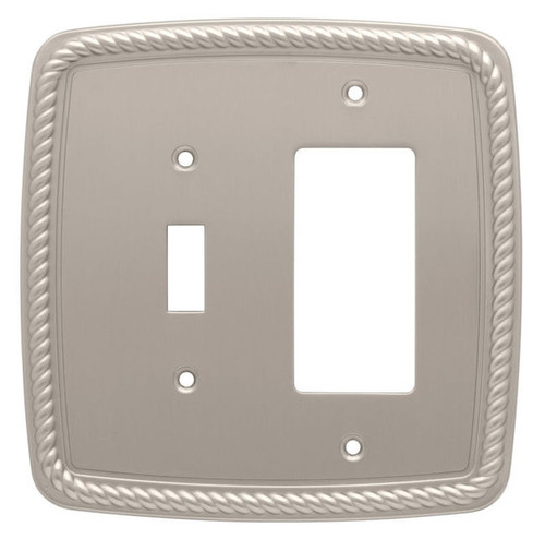 126400 Classic Rope Satin Nickel Single Switch Single GFCI Cover Plate