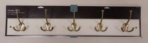 "085-03-1620 27"" 5 Hook Coat/Hat Rail White w/ Soft Brass Hooks"