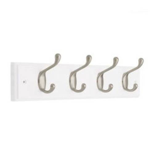 160334 4 Hook Coat/Hat Rail White and Satin Nickel